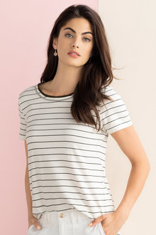 Grace Hill Dressy Metallic Trim Tee - 211979