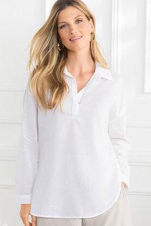 Grace Hill Relaxed Cotton Shirt - 211982