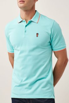 Next Aqua Neon Tipped Badge Polo