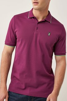 Next Burgundy Neon Tipped Badge Polo