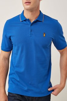 Next Blue Neon Tipped Badge Polo