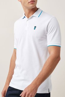 Next White Neon Tipped Badge Polo