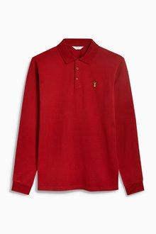 Next Long Sleeve Badge Poloshirt