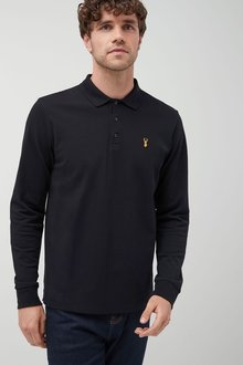 Next Black Long Sleeve Badge Poloshirt