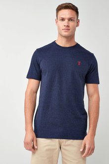 Next Navy Heavier Weight Logo T-Shirt