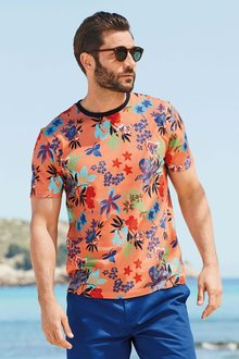 Next Orange Floral Printed T-Shirt
