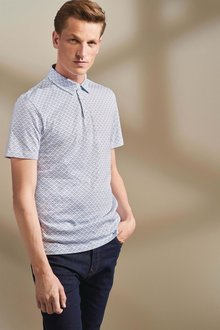 Next Square Geo Print Polo