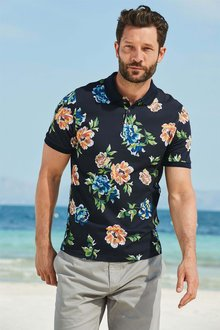 Next Bright Floral Print Polo