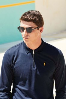 Next Long Sleeve Zip Neck Badge Polo