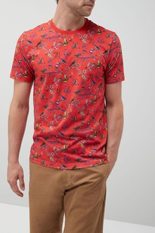 Next Red Bird Print T-Shirt
