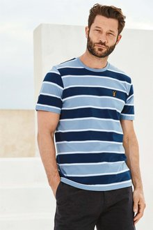 Next Blue/Navy Striped Badge T-Shirt
