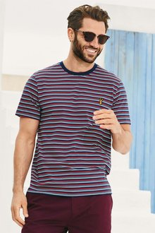 Next Red/Navy Striped Badge T-Shirt