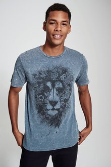 Next Acid Wash Lion Printed T-Shirt