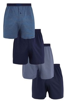 Next Blue Mixed Pattern Loose Fit Four Pack