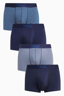 Next Blue Mixed Pattern Hipsters Four Pack