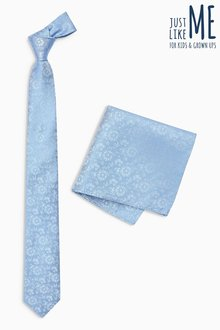Next Silk Patterned Tie And Pocket Square Set