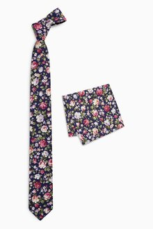 Next Floral Cotton Tie And Pocket Square