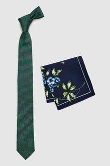 Next Tie With Navy Floral Pocket Square