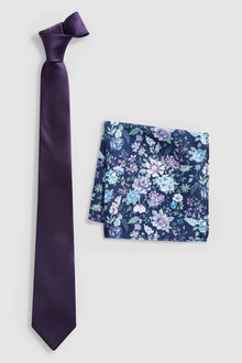 Next Purple Tie With Floral Pocket Square