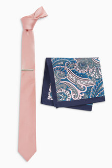 Next Tie With Paisley Pocket Square And Tie Clip