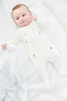 Next Embroidered Velour Sleepsuit (0-18mths)