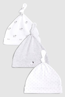 Next Delicate Sheep Tie Top Hats Three Pack (0-12mths)