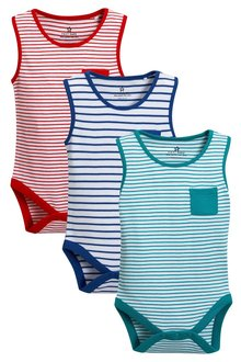 Next Stripe Vests Three Pack (0mths-2yrs)