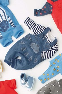 Next Tiger Dungarees And Stripe Bodysuit Set (0mths-2yrs)