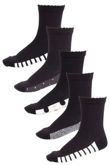 Next Monochrome Footbed Socks Five Pack (Older)