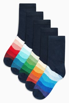 Next Navy Footbed Socks Five Pack (Older)