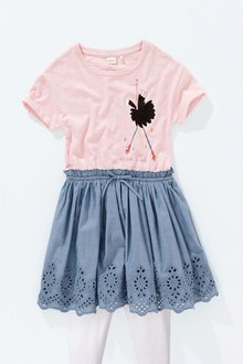 Next Pink Ostrich Dress And Leggings Set (3-16yrs)