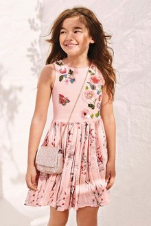 Next Rose Print Embellished Dress (3-16yrs)