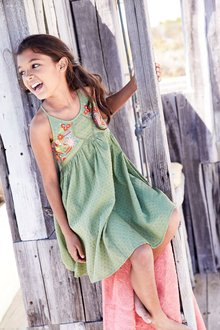 Next Khaki Embroderied Dress (3-16yrs)
