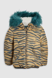 Next Zebra Print Short Padded Jacket (3-16yrs)