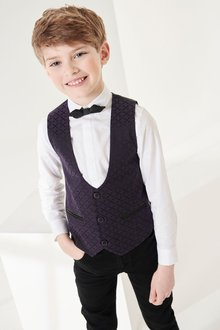 Next Smart Tonal Textured Waistcoat Set (12mths-16yrs)