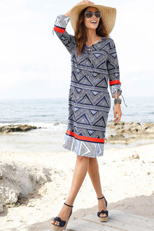Euro Edit Printed Shift Dress - 212494