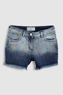 Next Denim Paint Splat Shorts (3-16yrs)