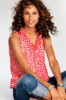 Heine Cowl Neck Spotted Top - 212529