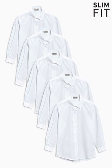 Next Slim Fit Long Sleeve Formal Blouse Five Pack (3-16yrs) - 212613