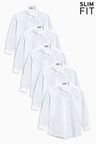 Next Slim Fit Long Sleeve Formal Blouse Five Pack (3-16yrs)