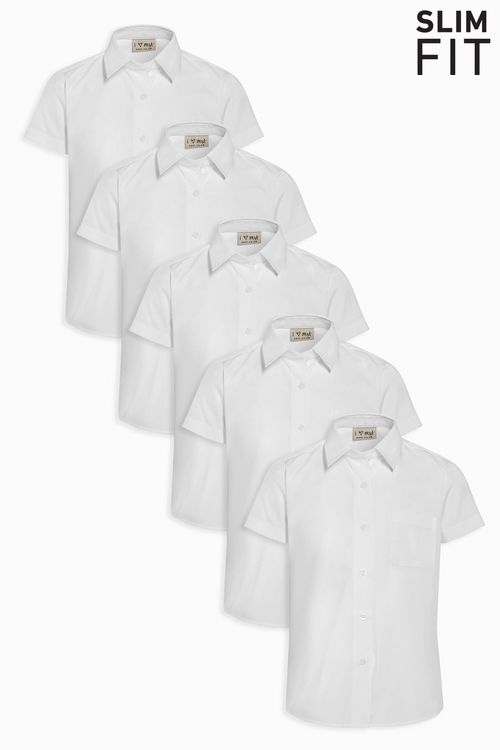 Next Slim Fit Short Sleeve Formal Shirt Five Pack (3-16yrs)