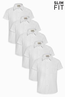 Next Slim Fit Short Sleeve Formal Shirt Five Pack (3-16yrs) - 212616