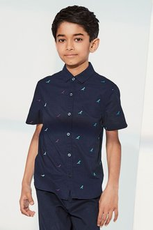Next Short Sleeve Dino Embroidered Shirt (3-16yrs)
