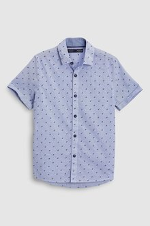 Next Dino Print Short Sleeve Ticking Stripe Shirt (3-16yrs)