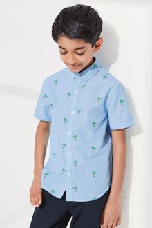 Next Short Sleeve Ticking Stripe Palm Embroidered Shirt (3-16yrs)