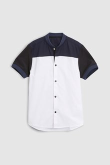 Next White Short Sleeve Colourblock Baseball Collar Shirt (3-16yrs)