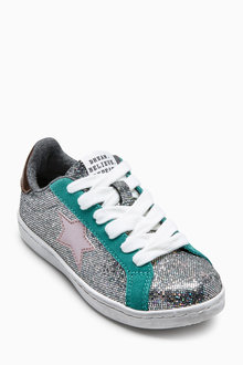 Next Metallic Lace-Up Trainers (Older)