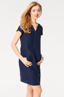 Emerge Linen Blend Pocket Dress