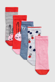 Next Stripe Bunny Socks Five Pack (Younger)