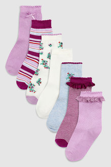 Next Floral Stripe Socks Seven Pack (Younger)